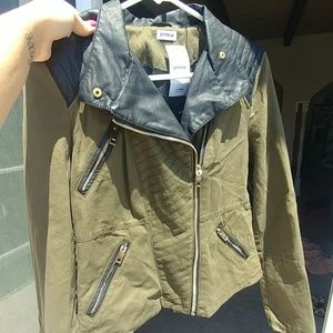 Jackets & Blazers - Army green/pleather motorcycle jacket